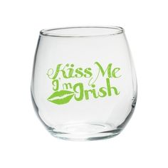 4ct Kate Aspen Kiss Me I' Irish Stemless Wine Glass, Clear (200 MAD) ❤ liked on Polyvore featuring home, kitchen & dining, drinkware, glass drinkware, coloured wine glasses, colored glass drinkware, kate aspen and colored wine glass