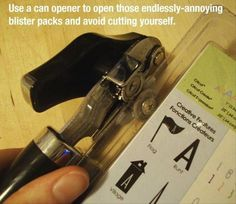 Use a can opener to quickly slice open those annoying blister packs