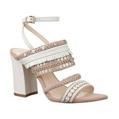 "Nine West 'Baebee' Block Heel Sandal, 4"" heel (385 PEN) ❤ liked on Polyvore featuring shoes, sandals, off white multi, nine west shoes, wrap sandals, block-heel sandals, nine west sandals and high heel shoes"