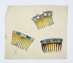 Gustav Gaudernack. Sketch of three haircombs in bone with silver and enamel decorations. Watercolor. ca 1910