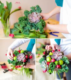 A DIY for a fruit and veggie bouquet - This would also make a great centerpiece for a spring meal!