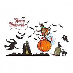 Happy Halloween Pumpkins Spooky Cemetery Witch and Bats Tomb Wall Decals Window Stickers Halloween Decorations for Living Rooms Nursery Halloween Party *** More details can be found by clicking on the image. Wall Stickers Murals, Window Stickers, Wall Decals, Halloween Pumpkins, Halloween Decorations, Happy Halloween, Halloween Party, Halloween Stickers, Bats