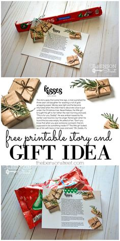 Perfect for teachers, neighbors, or friends with a free printable story. Kisses Christmas Story and Gift Idea at thebensonstreet.com #christmasstories #kisses #hersheykisses #hershey #Christmas
