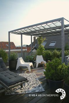 rooftop terrace with pergola