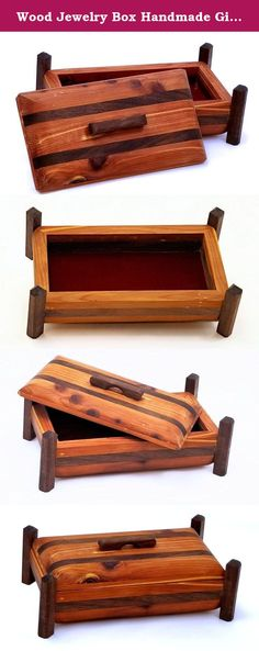 Wood Jewelry Box Handmade Gift Red Cedar With Walnut Accents Wooden Keepsake Gifts. The Adirondack Red Cedar Blush Jewelry gift box is handcrafted and constructed from Red Cedar and Walnut the lift top sports a Red Cedar top with Walnut bands. The legs and handle are carved from Walnut. I am the Adirondack Woodworker and I design my one-of-a-kind hardwood creations in my Adirondack New York woodshop using woods mostly harvested from my own property. All my pieces are hand-rubbed using…