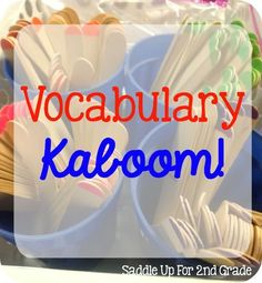 Vocabulary instruction is such an important part of our reading block. These four vocabulary games are hands on and engaging and perfect for practicing any set of words. They can also be played in 20 minutes or less! Increase Vocabulary, Vocabulary Strategies, Vocabulary Instruction, Academic Vocabulary, Teaching Vocabulary, Vocabulary Activities, Vocabulary Words, Teaching Reading, Spanish Activities
