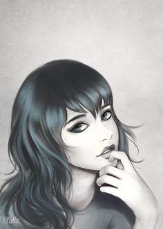 Study portrait  #digitalart #digital #portrait #girl #digitalpainting #dark #gothic #woman #pale #skin