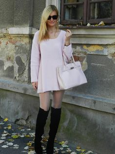 Pale pink, knee-high boots