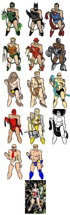 """by The Uniblogger  TDW Geeks:  This piece, originally by Coelasquid and added to by 4chan, puts male superheroes into skimpy costumes and poses them like Wonder Woman on David Finch's variant cover for Justice League #1.  The artist's point was that """"people are getting tired of seeing all of the female leads drawn with body language and uniforms that make them appear less heroic, powerful, legitimate, and all-around able to be taken seriously than their male counterparts."""""""