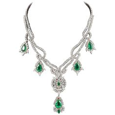 Emerald Diamond Gold Drop Necklace  | From a unique collection of vintage drop necklaces at https://www.1stdibs.com/jewelry/necklaces/drop-necklaces/