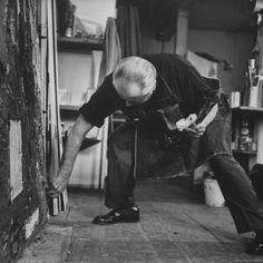 Hans Hofmann Painting in His Studio by Andreas Feininger