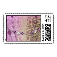 ABIGAIL'S LACE in Fuchsia and Olive Postage Stamp
