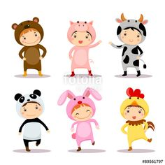 Vettoriale: Illustration of cute kids wearing animal costumes