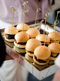 Dressed up BBQ food! mini burgers, truffle Mac n cheese, yum!