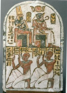 Stele of King Amenhotep I and his mother Ahmose Nefertari (Dynasty XIX, Deir el-Medina) (Museo Egizio in Turin, C CGT Ancient Egypt Art, Ancient Aliens, Ancient Artifacts, Ancient History, Art Ancien, Ancient Mysteries, Egyptian Art, African History, Ancient Civilizations