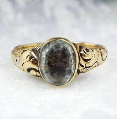 Sale - Antique Georgian Ornate 15ct Gold Ring with Foiled Gemstone Stone / Size N 1/2