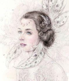 Купить Фея - акварель, фея, девушка, волшебный, лес, картина, графика, кружево, сказка