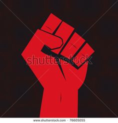 Fist red clenched hand vector Victory revolt concept Revolution solidarity punch…