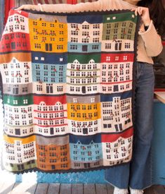 Shereo's crochet pattern+video tutorial of colorful towns blanket Hobbies To Try, Hobbies For Women, Afghan Crochet Patterns, Knitting Patterns, Knitting Projects, Crochet Projects, Crochet Toys, Knit Crochet, Afghan Blanket