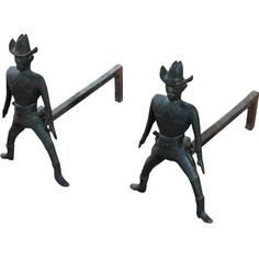 Vintage Cast Iron Figural Cowboy Andirons - A Pair ($3,900) ❤ liked on Polyvore featuring home, home decor, fireplace accessories, andirons & chenets, decor, cast iron figurines, cast iron home decor, cowboy figurines and fireplace andirons