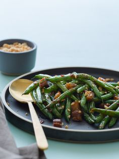 Asian Style Green Beans with Crispy Pork Belly