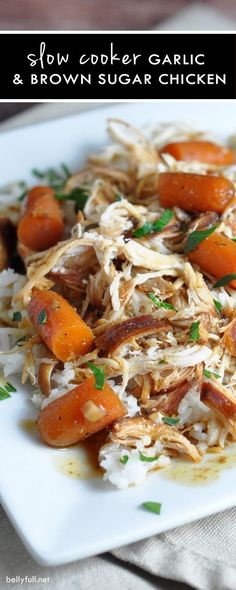 Slow Cooker Garlic and Brown Sugar Chicken - chicken and baby carrots slow cook all day in a sweet and slightly spicy sauce then served over rice for a complete meal! Slow Cooked Meals, Crock Pot Slow Cooker, Crock Pot Cooking, Slow Cooker Recipes, Crockpot Recipes, Cooking Recipes, Healthy Recipes, Chicken Recipes, Crock Pots
