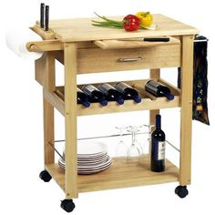 Winsome Wood Kitchen Cart with wine rack & Pull Out Cutting Board Butcher Block Kitchen Cart, Rolling Kitchen Island, Kitchen Island Cart, Kitchen Carts, Kitchen Appliances, Butcher Blocks, Kitchen Islands, Natural Kitchen, Basic Kitchen