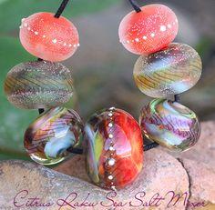Citrus Raku Sea Salt Rounds (7) Lampwork Beads Handmade with Fine Silver SRA A15 #ParadiseBeads #Lampwork