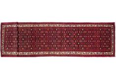 Tiny patterns and an elegant contrasting border in this  Hosseinabad runner.