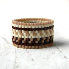 Wide bohemian ring Wide band ring Wide peyote by HappyBeadwork
