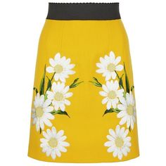 Dolce & Gabbana Daisy Embroidered Skirt (€2.150) ❤ liked on Polyvore featuring skirts, yellow skirt, embroidered skirt, mustard skirt, daisy skirt and daisy print skirt
