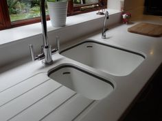 Corian acrylic benchtop countertop moulded sink draining for Corian sink accessories