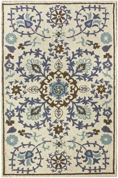 """don't love the pattern or the look of the rug, but the colors might work - AllModern: nuLOOM Moderna Tuscano Suzani Blue Rug, wool, 0.5"""" pile, 5x8 ($231)"""