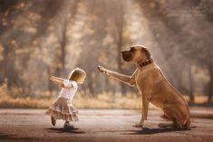 子供にとって唯一無二な存在。大きな犬に守られる小さな子供たちの仲睦まじき象徴的シーン : カラパイア