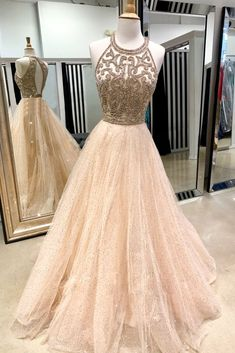 Champagne Sequins Tulle Prom Dress Long Open Back Strapless Evening Dress Cheap Evening Gowns - Prom Dresses Design Prom Dresses Long Open Back, Sparkly Prom Dresses, Tulle Prom Dress, Pretty Dresses, Homecoming Dresses, Beautiful Dresses, Halter Top Prom Dresses, Beaded Dresses, Wedding Dresses