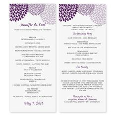 Wedding Program Template - Chrysanthemum (Purple) Tea Length - Microsoft Word Format