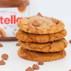 Nutella Chocolate Chip Cookies Biscuit Cookies, Biscuit Recipe, Baking Recipes, Cake Recipes, Nutella Chocolate Chip Cookies, Nutella Jar, Bellini Recipe, Nutella Recipes, Classic Desserts