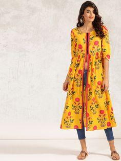 Buy Anouk Women Yellow Printed A-Line Kurta online in India at best price.  Yellow printed A-line kurta, has a round neck, three-quarter sleeves,  curved hem, ...