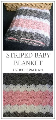 I want to try this one. I love the stitch pattern. Crochet Pattern - Pink, White, and Grey Striped Baby Blanket #crochetpattern #crochet #blanket #affiliate #afghan #baby