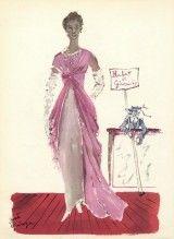 Givenchy 1956 José Guinoga Evening Gown Fashion Illustration