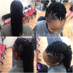Two strand hairstyle with braids and Marley twist
