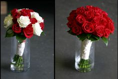 red and white rose wedding bouquets - a nice mix of red & white
