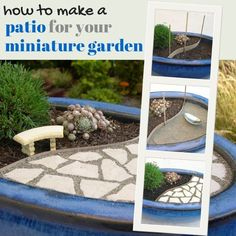 How to make a patio for your miniature garden - Step by step instructions from Gardening in Miniature author Janit Calvo
