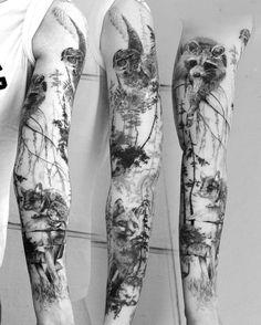 Finally a healed pic of this fullsleeve! I loved to work on it! #fullsleeve#tattoo#tattooart#ink#inked#nature#fox#owl#racoon#inkedgirls #tattoos #tattooist #art#realistic#blackandwhite #blackandgrey#love#work#artwork #artist