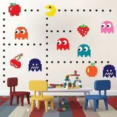 Pac Man Wall Decal - Video Game Wall Decal Murals - Kids Bedroom DIY Pacman stickers - Pacman Wall Murals - Pacman Room Decor - Primedecals
