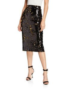 Milly Sequined Midi Pencil Skirt – Mod and Retro Clothing Office Dress Code, Office Dresses, Resort Wear For Women, Sequin Pencil Skirt, Smart Outfit, Contemporary Fashion, Dress Codes, Neiman Marcus, High Waisted Skirt