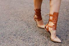 Gladiator shoes, street style Milan fashion week spring 2014