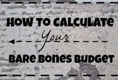 In the event of a life altering event where you lose your job you should know how much money you're going to need. That's where a bare bones budget comes in