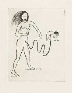 Louise Bourgeois. Woman Attached to Baby by Cord, state IV. (2000)