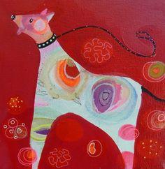 """""""zoek de bal""""acryl op doek 20x20cm 3d. www.moniekpeek.nl"""